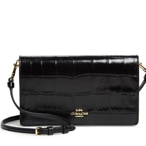 NWOT COACH Embossed Croc Hayden Black Crossbody
